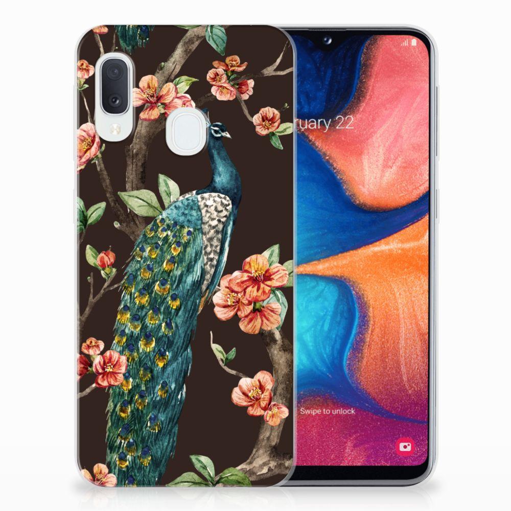 Samsung Galaxy A20e TPU Hoesje Pauw met Bloemen