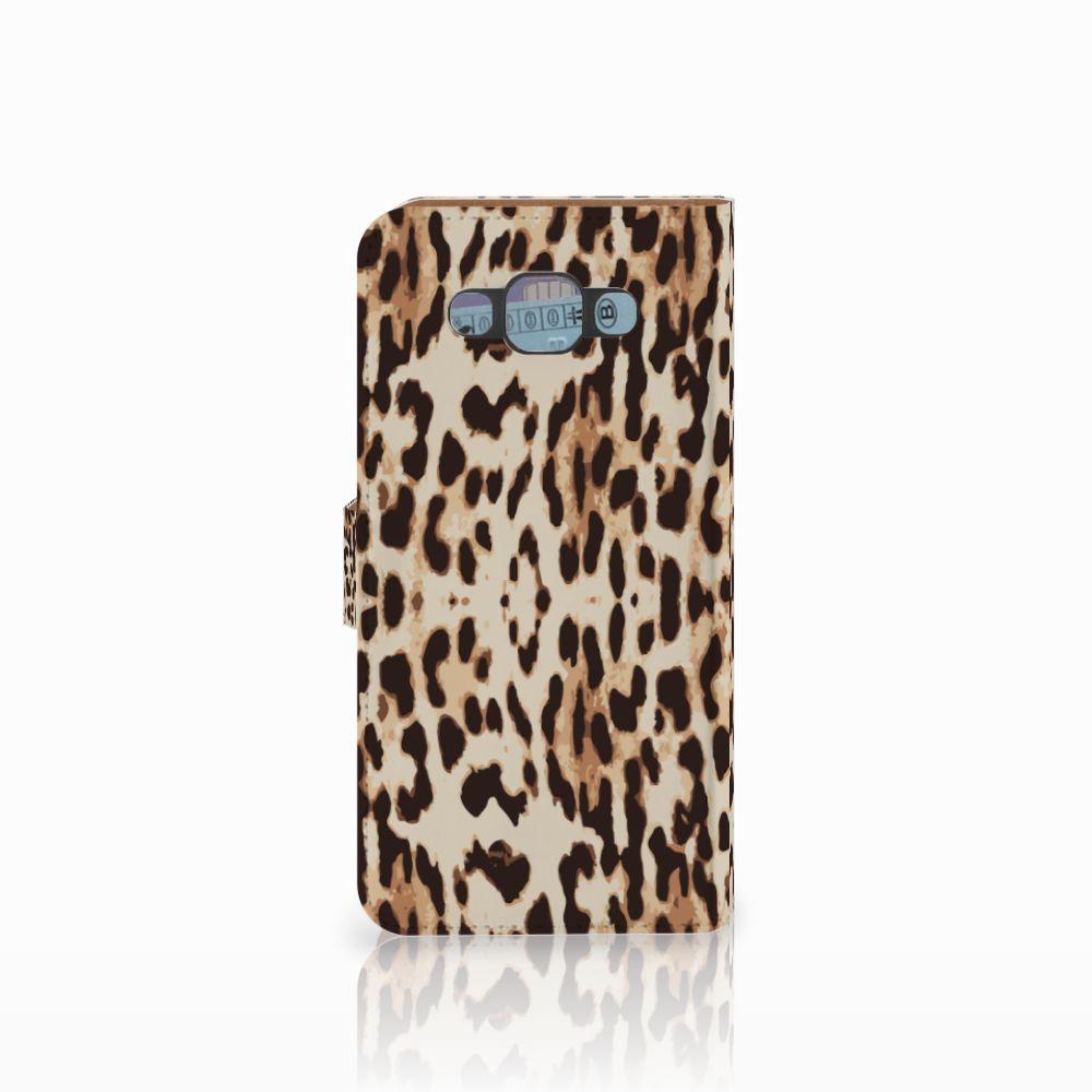 Samsung Galaxy E7 Telefoonhoesje met Pasjes Leopard