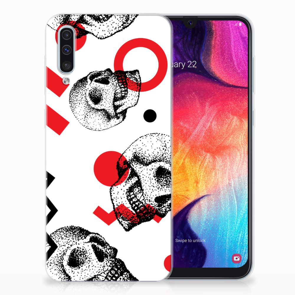 Silicone Back Case Samsung Galaxy A50 Skull Red