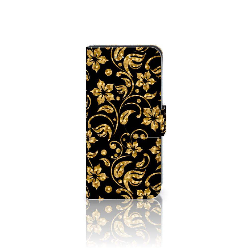 Samsung Galaxy S6 Edge Boekhoesje Design Gouden Bloemen
