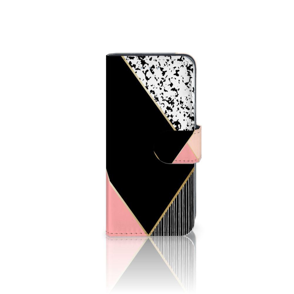 Samsung Galaxy A5 2016 Uniek Boekhoesje Black Pink Shapes