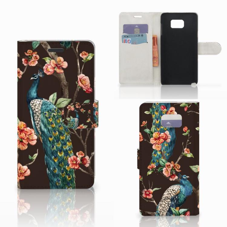 Samsung Galaxy Note 5 Telefoonhoesje met Pasjes Pauw met Bloemen