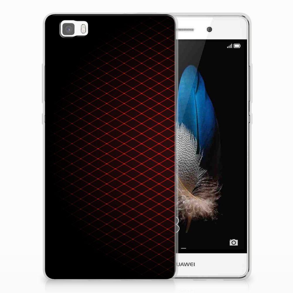 Huawei Ascend P8 Lite Uniek TPU Hoesje Geruit Rood