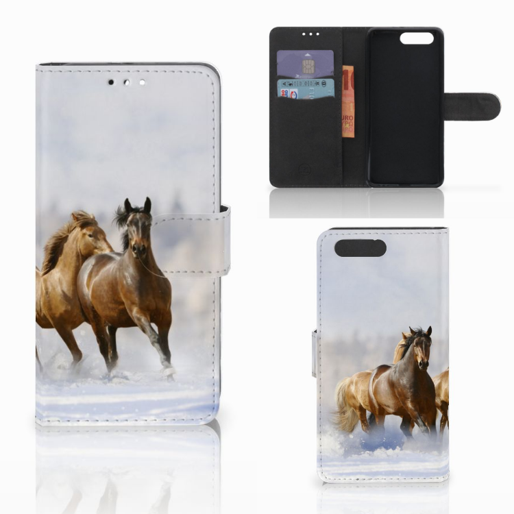 Honor 9 Telefoonhoesje met Pasjes Paarden