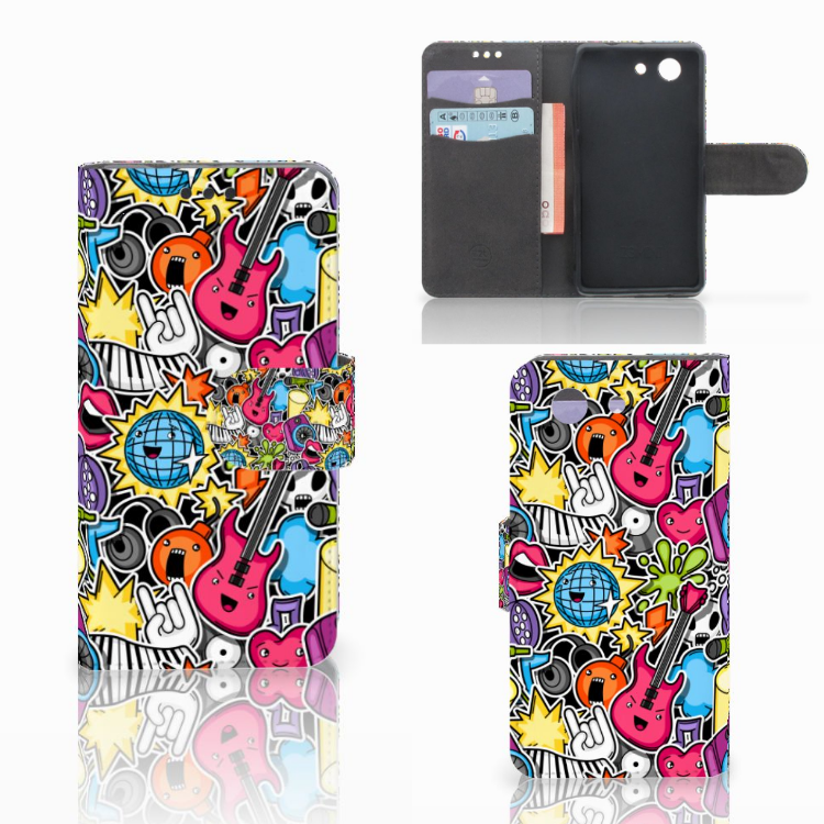 Sony Xperia Z3 Compact Wallet Case met Pasjes Punk Rock