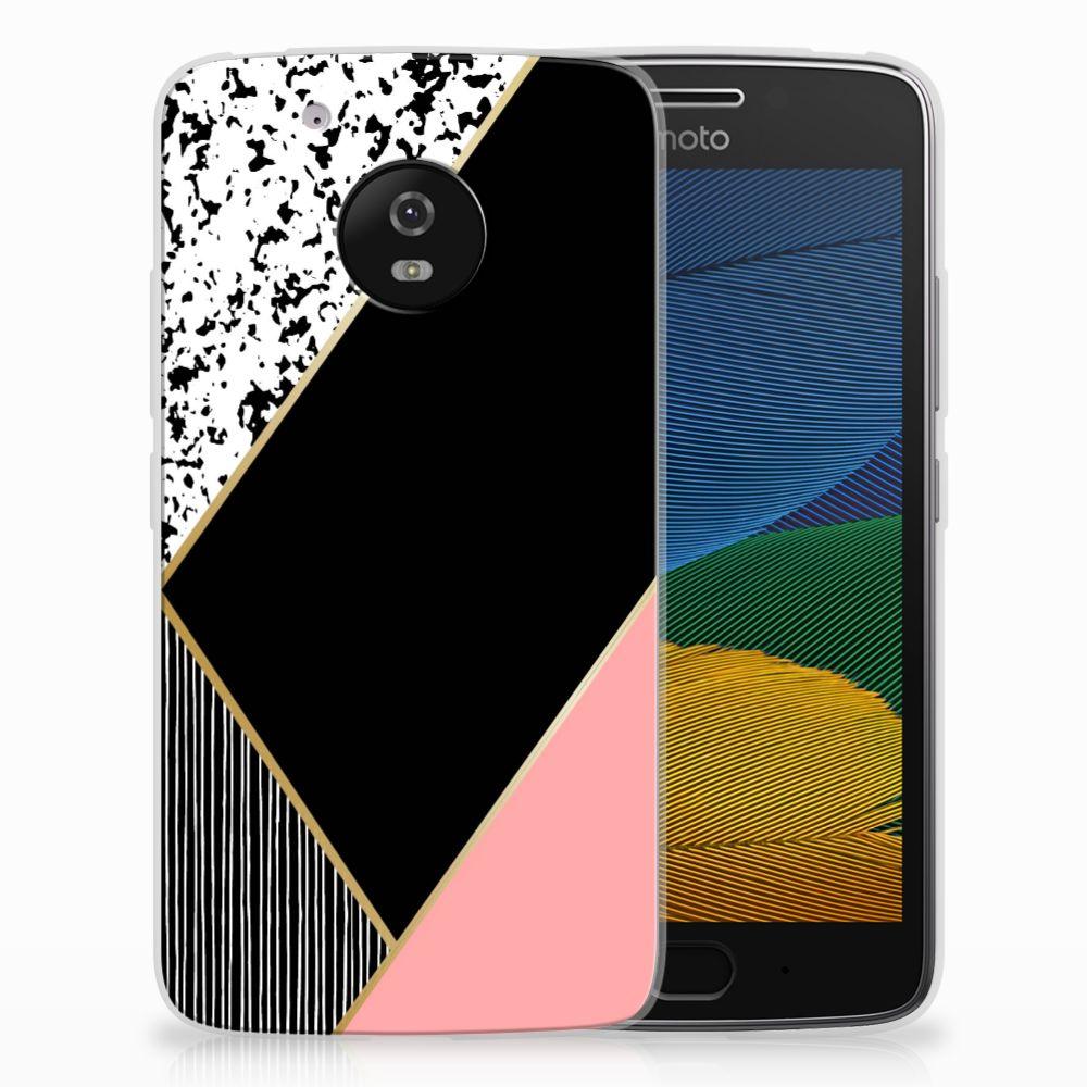Motorola Moto G5 TPU Hoesje Zwart Roze Vormen