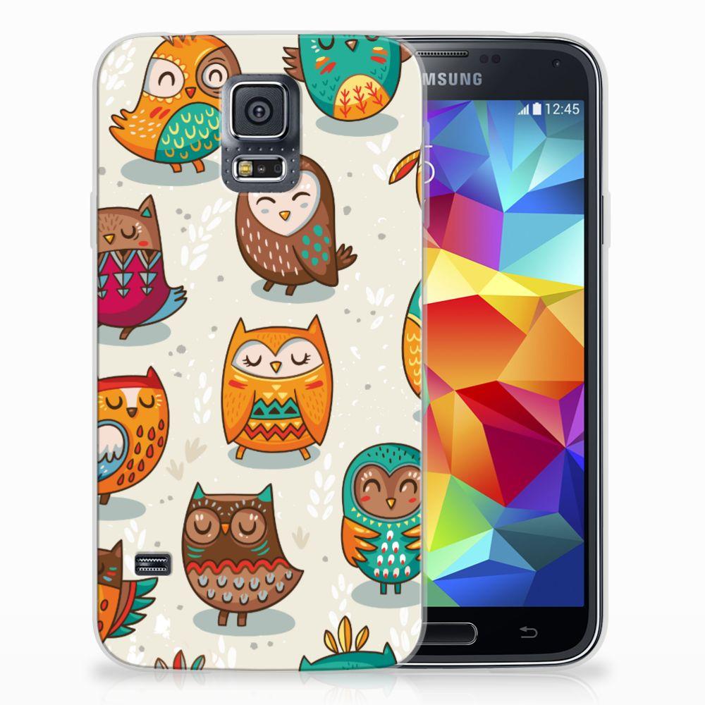 Samsung Galaxy S5 Uniek TPU Hoesje Vrolijke Uilen