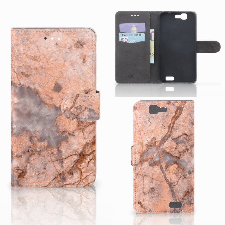 Huawei Ascend G7 Bookcase Marmer Oranje