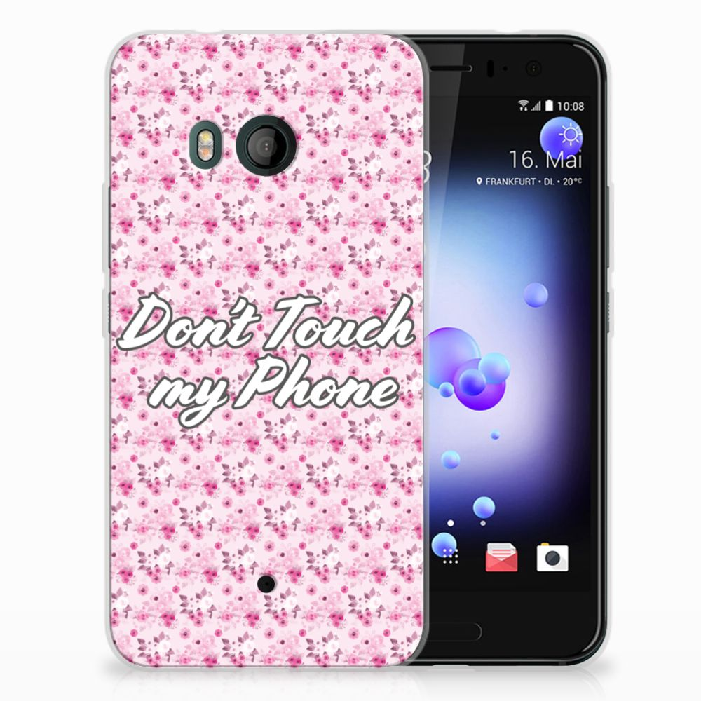 HTC U11 Uniek TPU Hoesje Flowers Pink DTMP