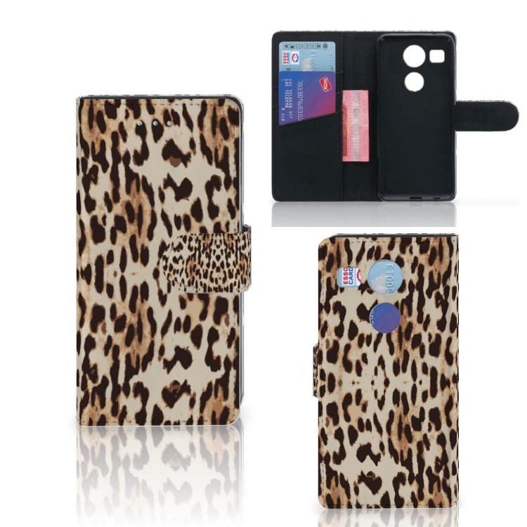 LG Nexus 5X Telefoonhoesje met Pasjes Leopard