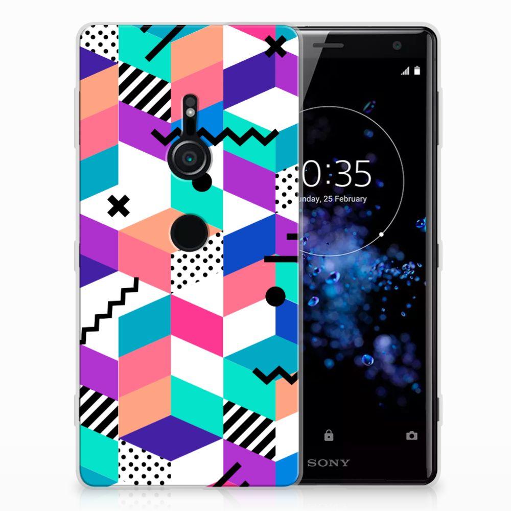 Sony Xperia XZ2 TPU Hoesje Blokken Kleurrijk