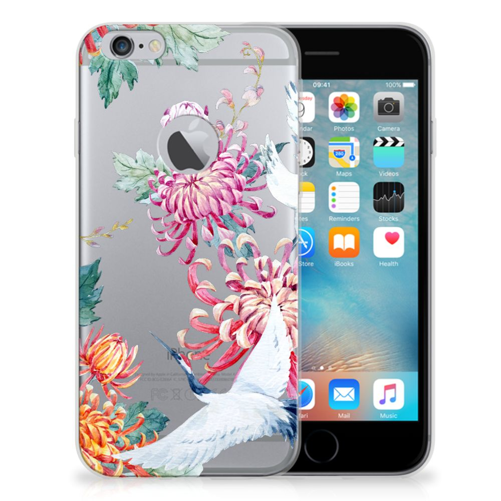 Apple iPhone 6 Plus | 6s Plus Uniek TPU Hoesje Bird Flowers