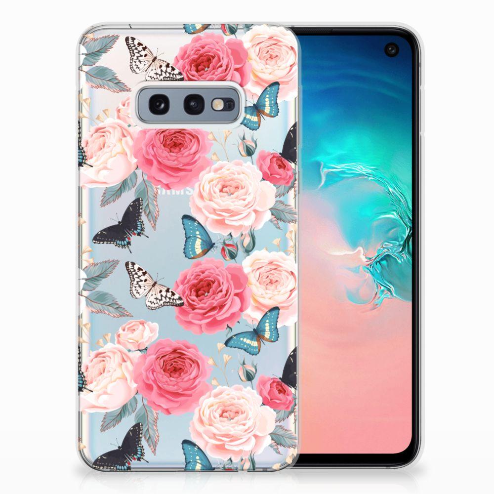 Samsung Galaxy S10e Uniek TPU Hoesje Butterfly Roses