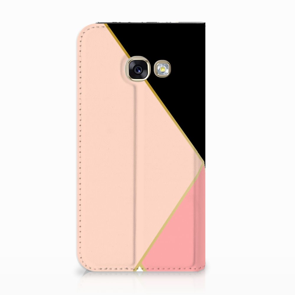 Samsung Galaxy A3 2017 Uniek Standcase Hoesje Black Pink Shapes