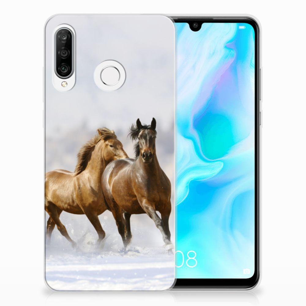 Huawei P30 Lite TPU Hoesje Paarden