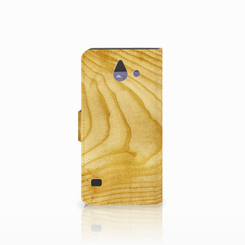 Huawei Ascend Y550 Book Style Case Licht Hout