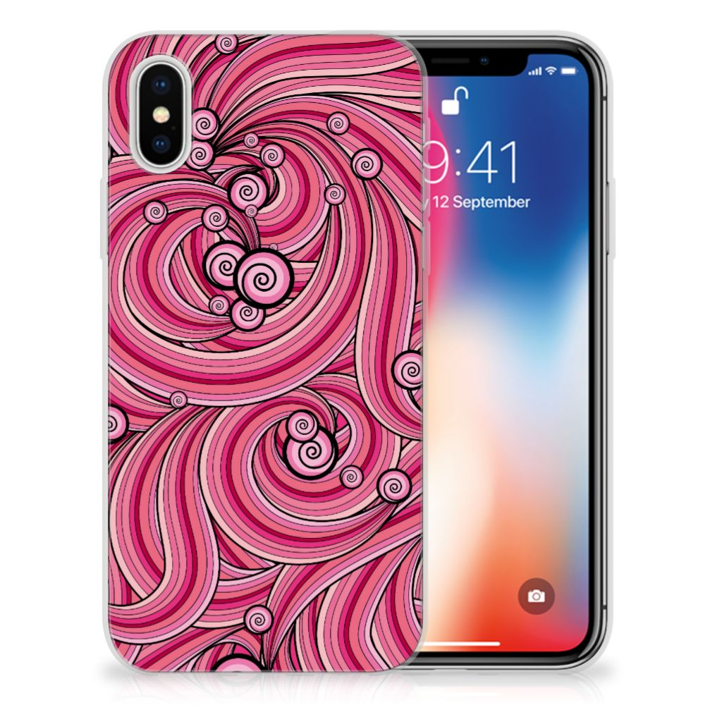 Apple iPhone X | Xs Uniek TPU Hoesje Swirl Pink