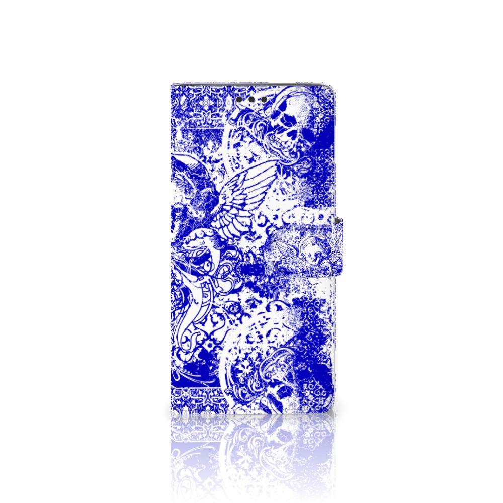 Sony Xperia XA Ultra Uniek Boekhoesje Angel Skull Blue