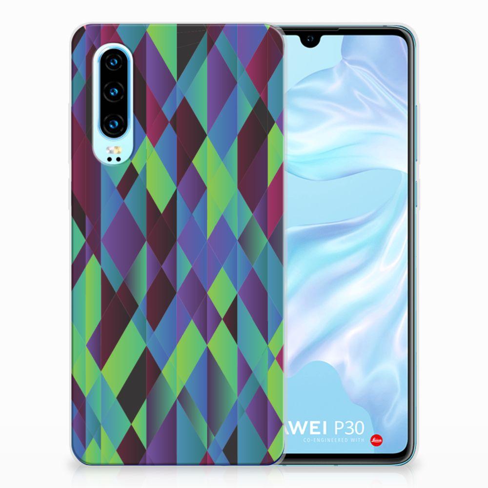 Huawei P30 TPU Hoesje Abstract Green Blue