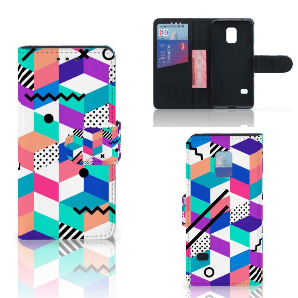 Samsung Galaxy S5 Mini Bookcase Blokken Kleurrijk