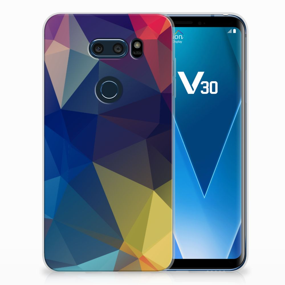 LG V30 Uniek TPU Hoesje Polygon Dark