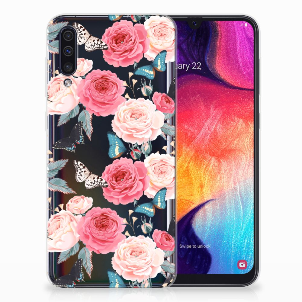 Samsung Galaxy A50 Uniek TPU Hoesje Butterfly Roses