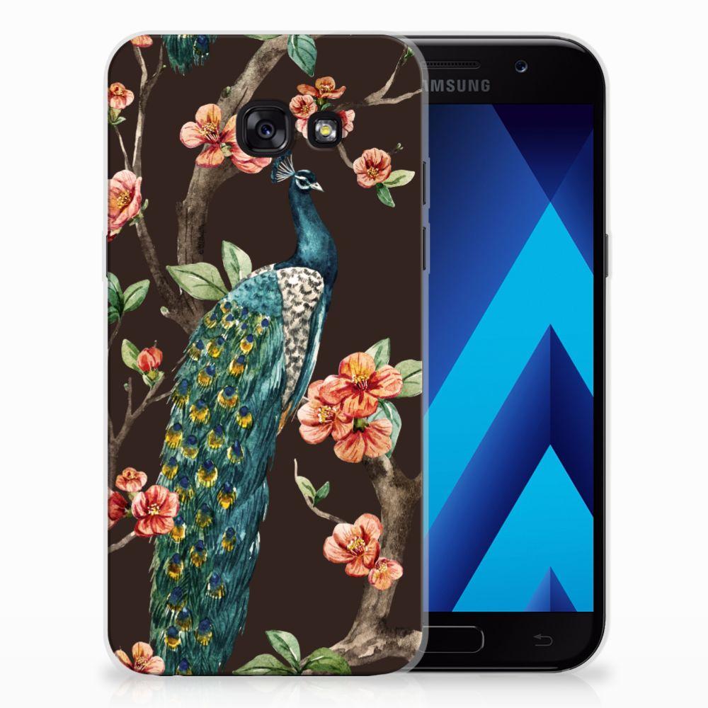 Samsung Galaxy A5 2017 TPU Hoesje Pauw met Bloemen