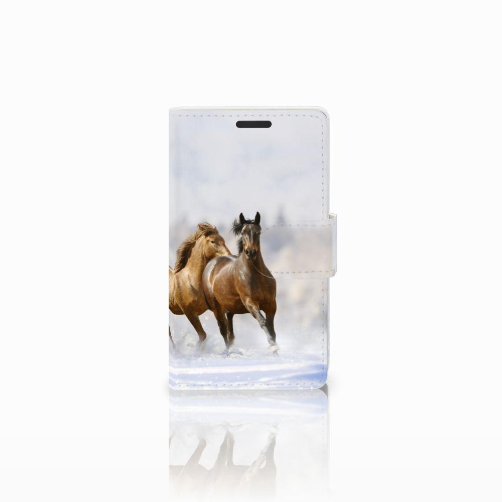Microsoft Lumia 435 Uniek Boekhoesje Paarden