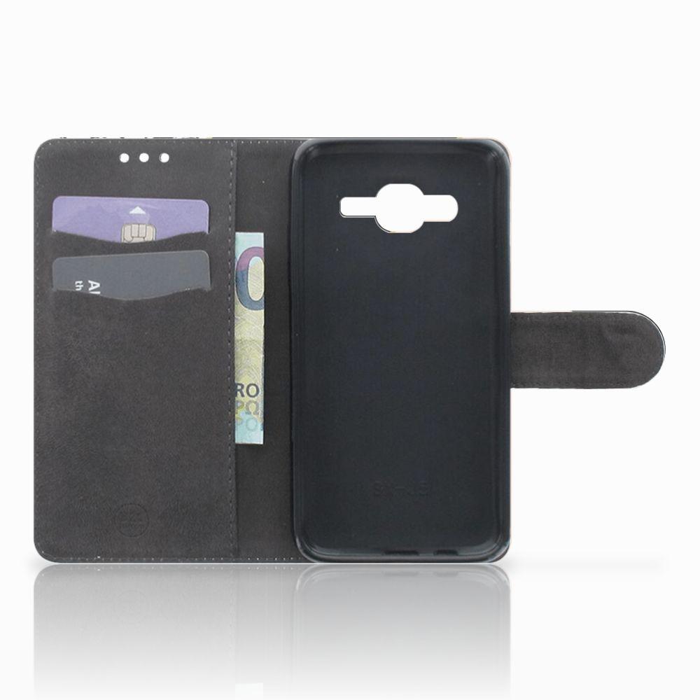 Samsung Galaxy J5 (2015) Uniek Boekhoesje Black Pink Shapes