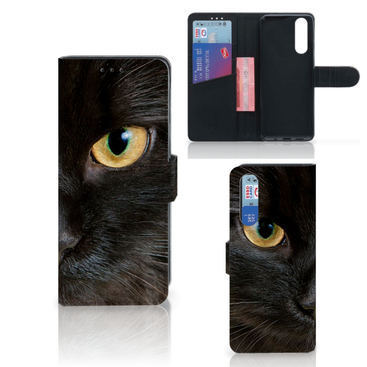 Sony Xperia 5 Telefoonhoesje met Pasjes Zwarte Kat