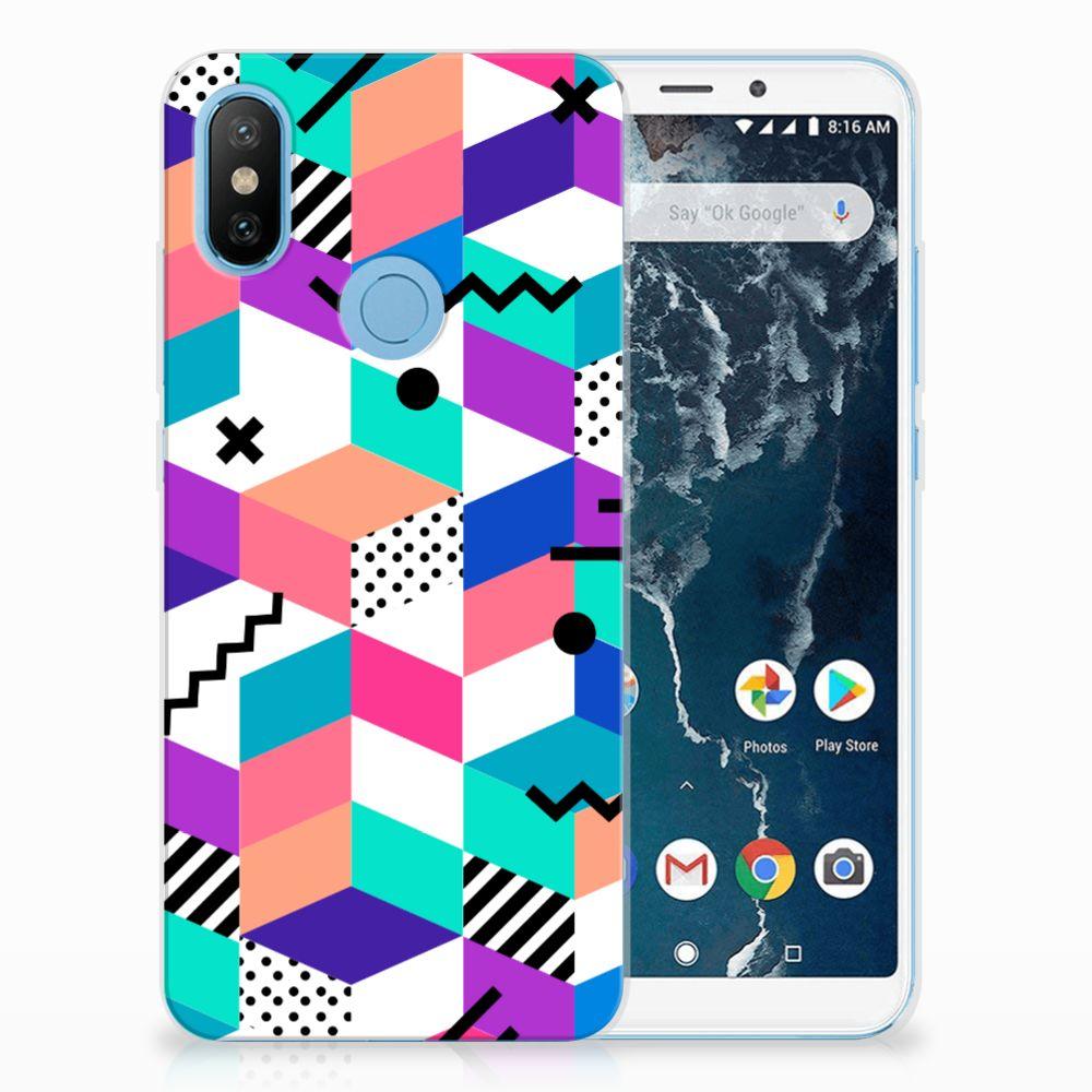 Xiaomi Mi A2 TPU Hoesje Design Blocks Colorful