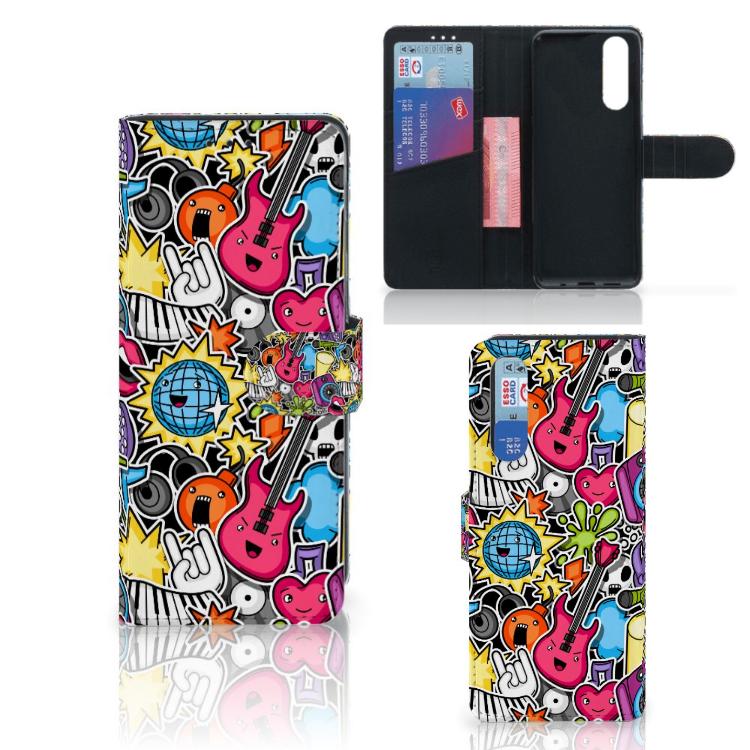 Sony Xperia 5 Wallet Case met Pasjes Punk Rock
