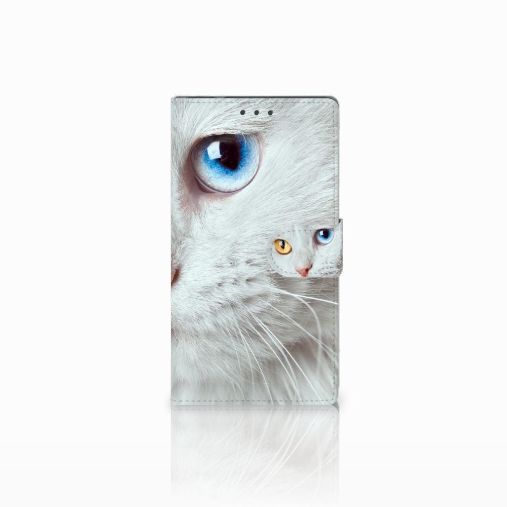 Samsung Galaxy Note 4 Uniek Boekhoesje Witte Kat