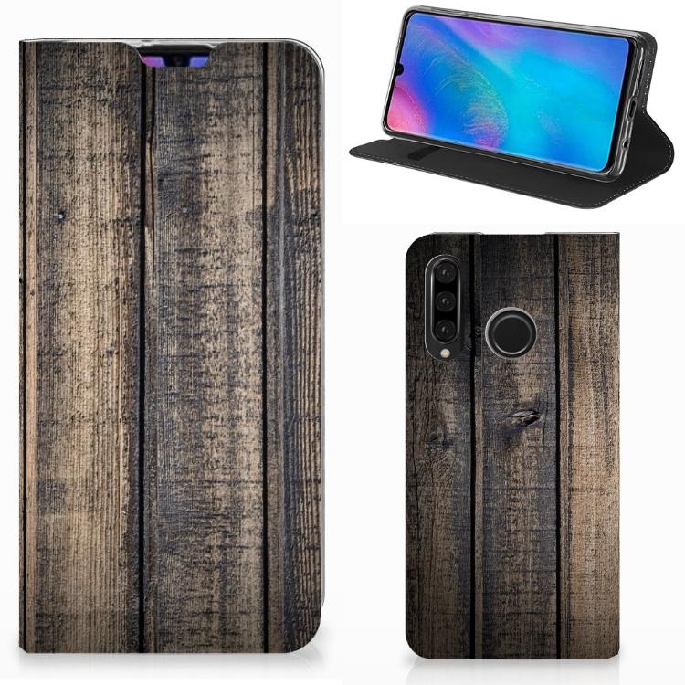 Huawei P30 Lite Book Wallet Case Steigerhout