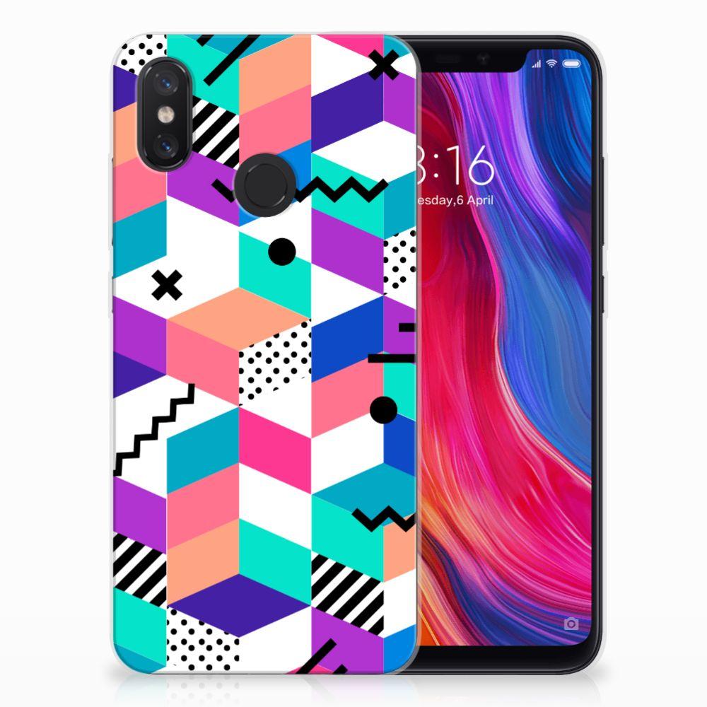 Xiaomi Mi 8 TPU Hoesje Blokken Kleurrijk