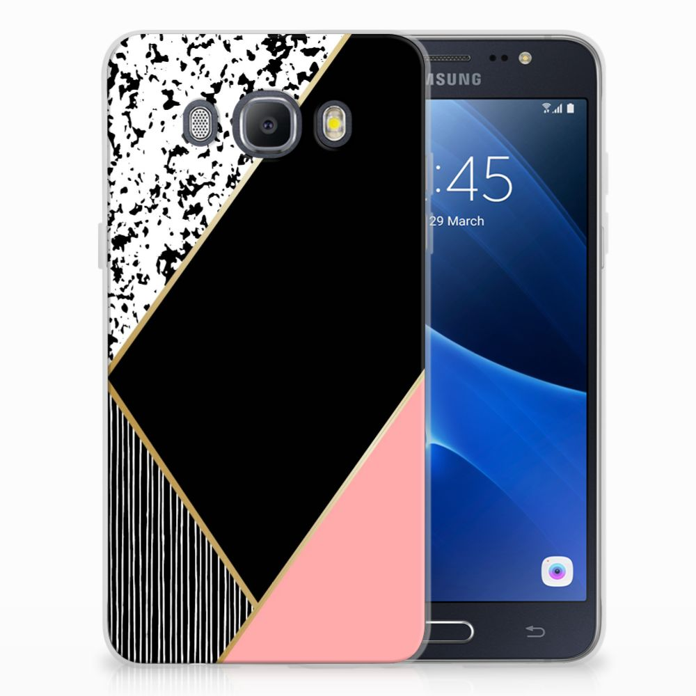 Samsung Galaxy J5 2016 TPU Hoesje Zwart Roze Vormen