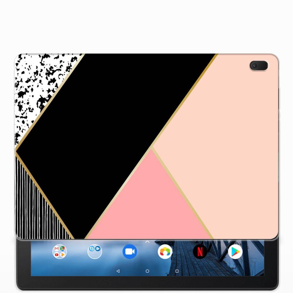 Lenovo Tab E10 Back Cover Zwart Roze Vormen