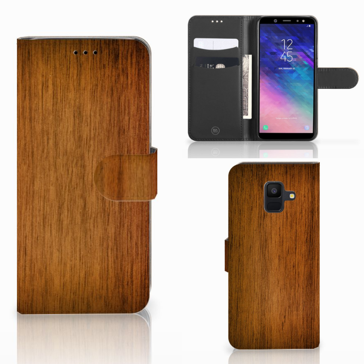 Samsung Galaxy A6 2018 Book Style Case Donker Hout