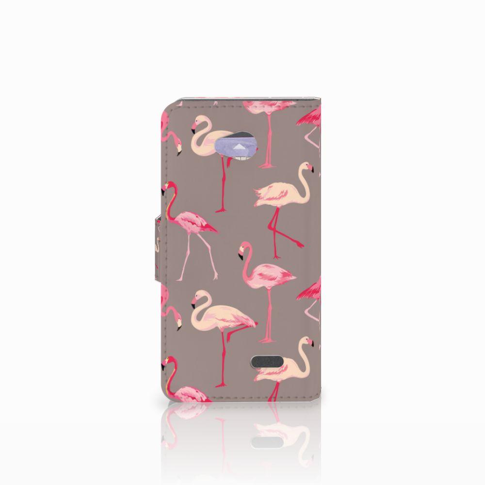 LG L70 Telefoonhoesje met Pasjes Flamingo