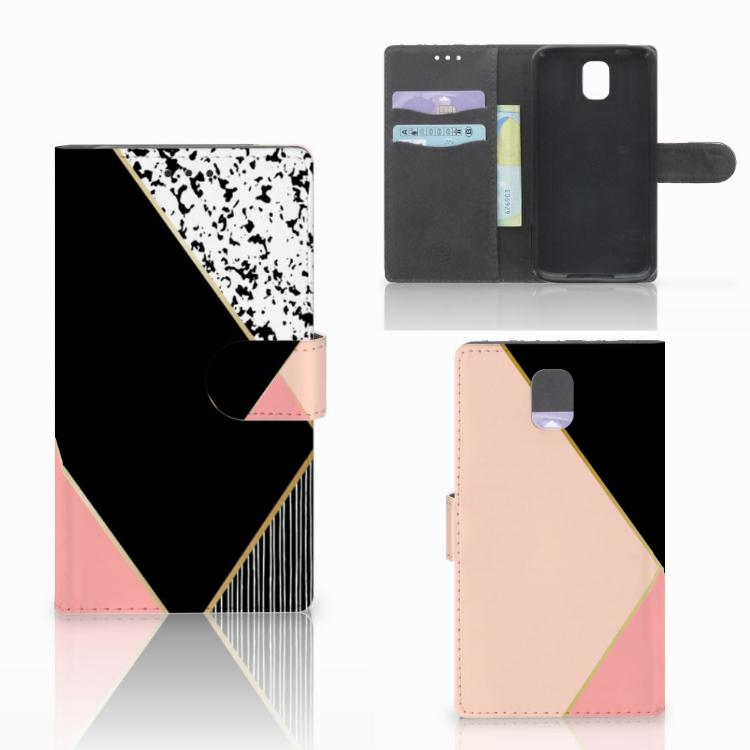 Samsung Galaxy Note 3 Bookcase Zwart Roze Vormen