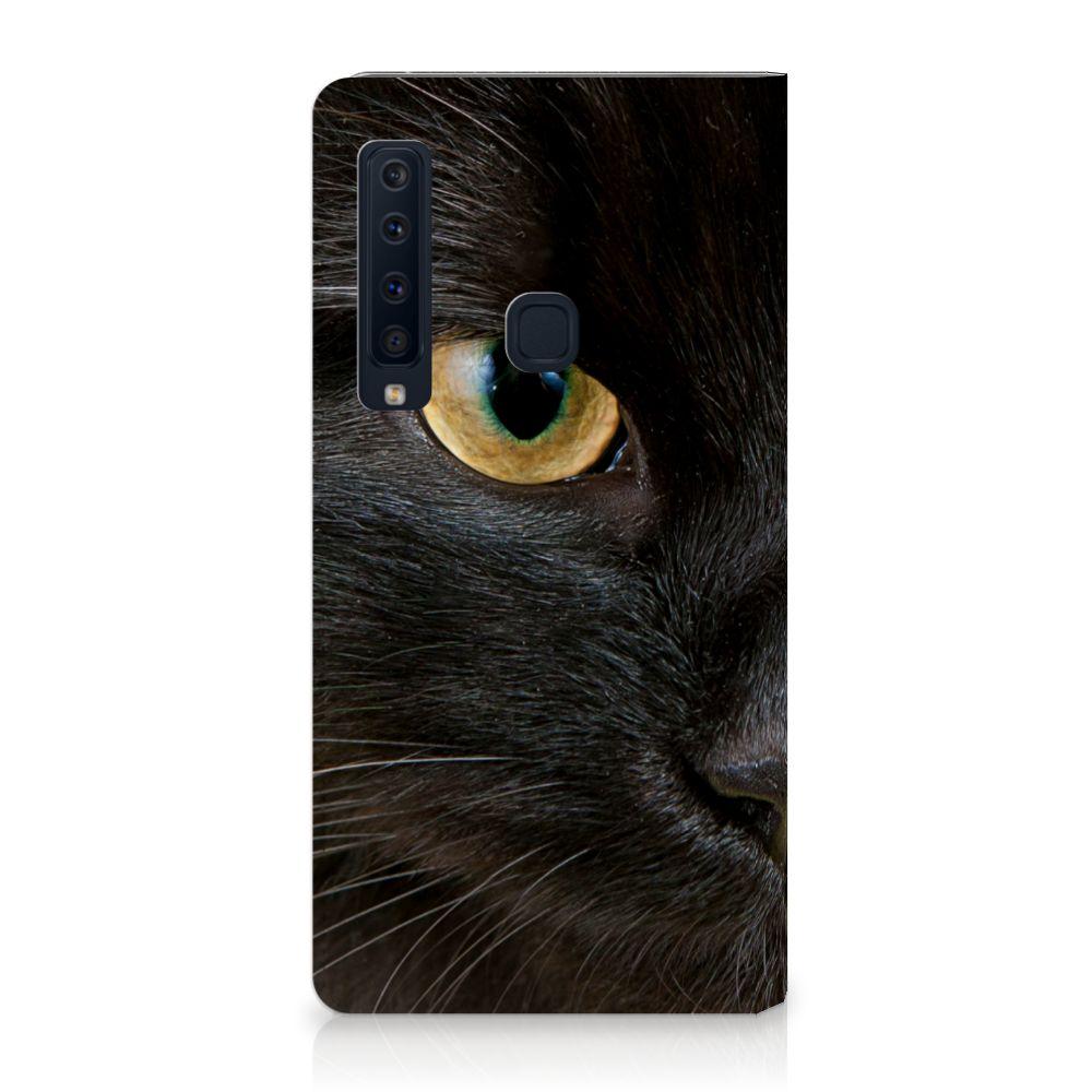 Samsung Galaxy A9 (2018) Uniek Standcase Hoesje Zwarte Kat