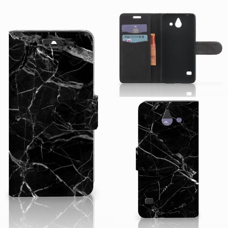 Huawei Ascend Y550 Bookcase Marmer Zwart - Origineel Cadeau Vader