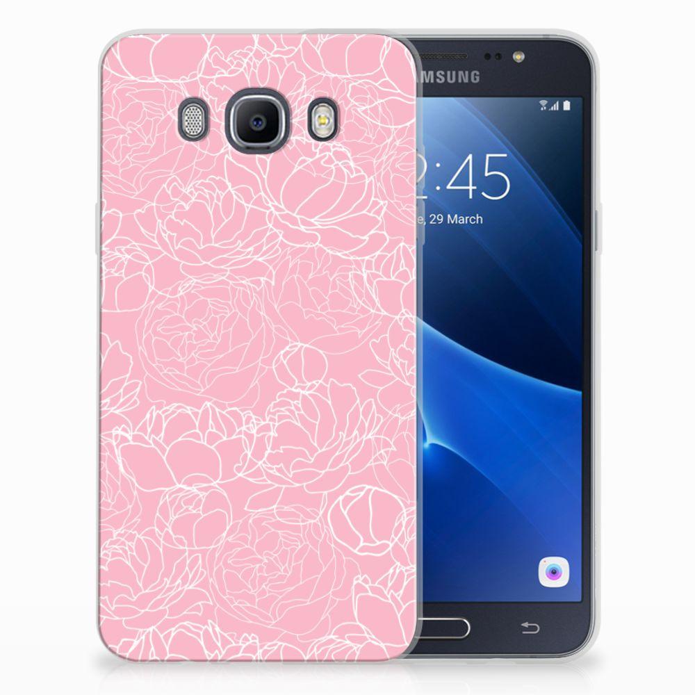 Samsung Galaxy J7 2016 Siliconen Hoesje White Flowers