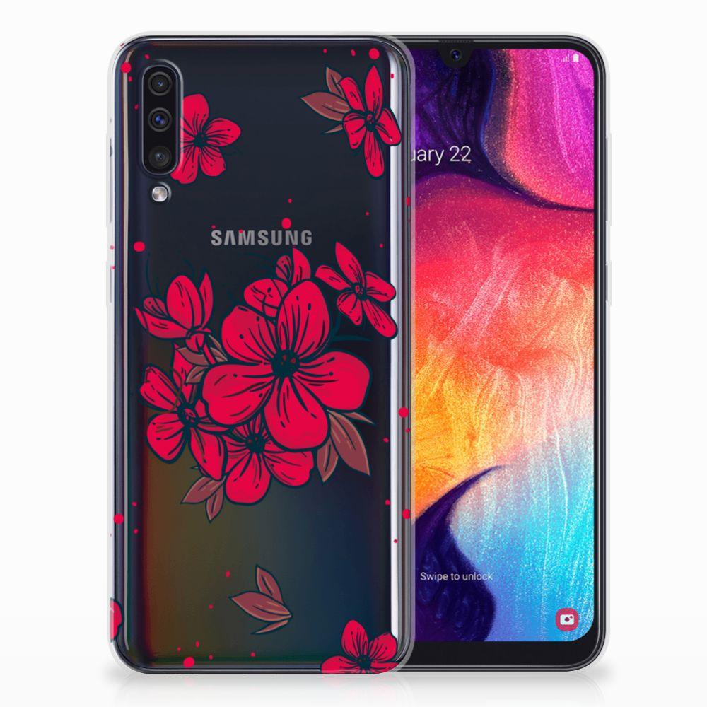 Samsung Galaxy A50 TPU Hoesje Design Blossom Red