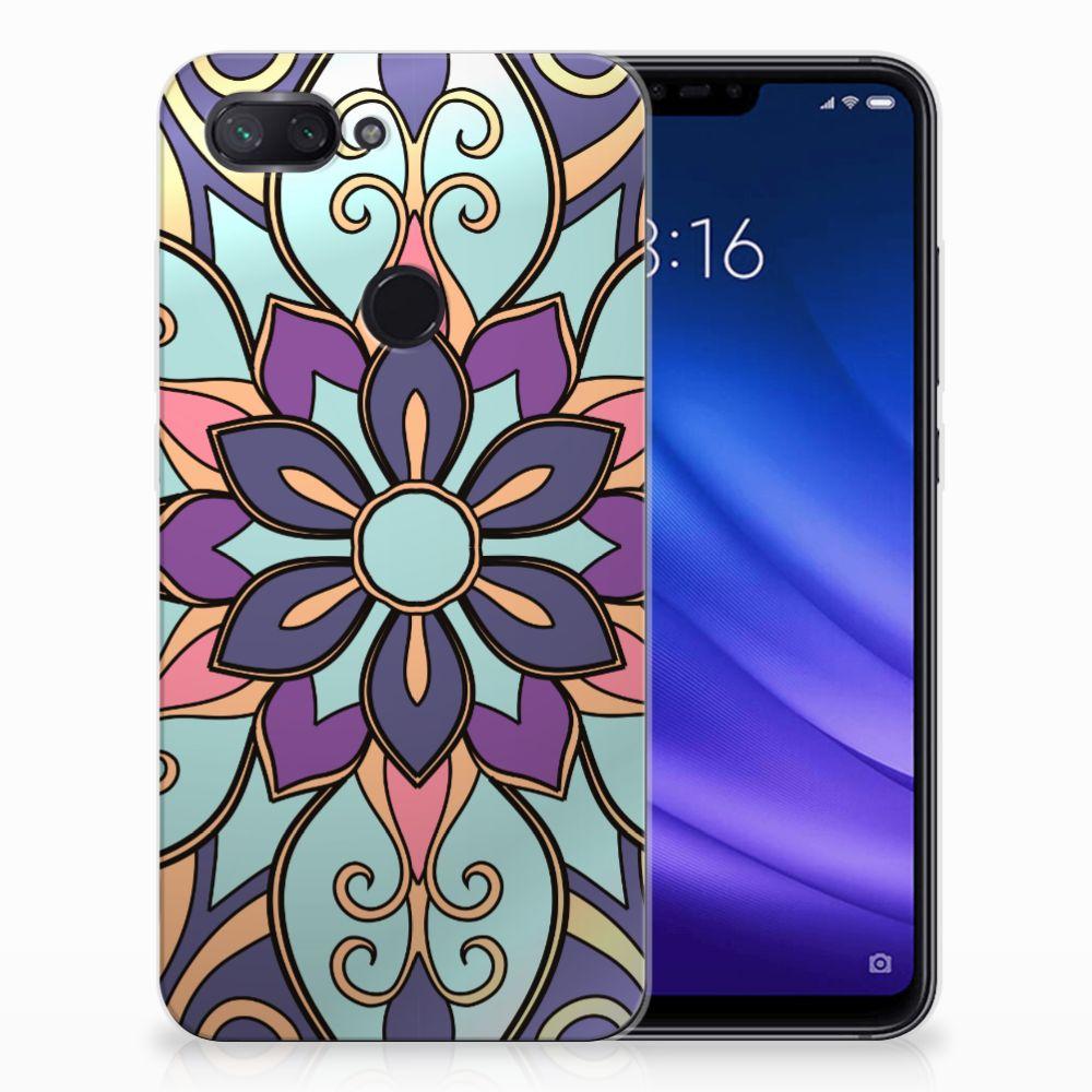 Xiaomi Mi 8 Lite TPU Hoesje Design Purple Flower