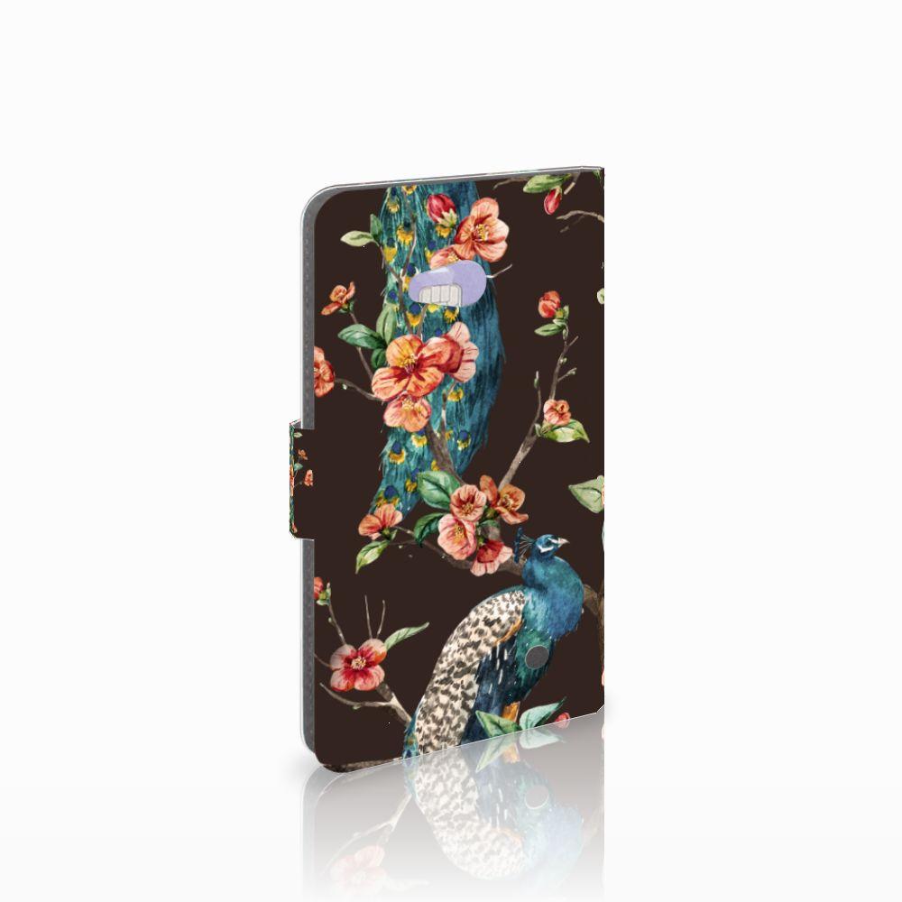 Microsoft Lumia 640 Telefoonhoesje met Pasjes Pauw met Bloemen