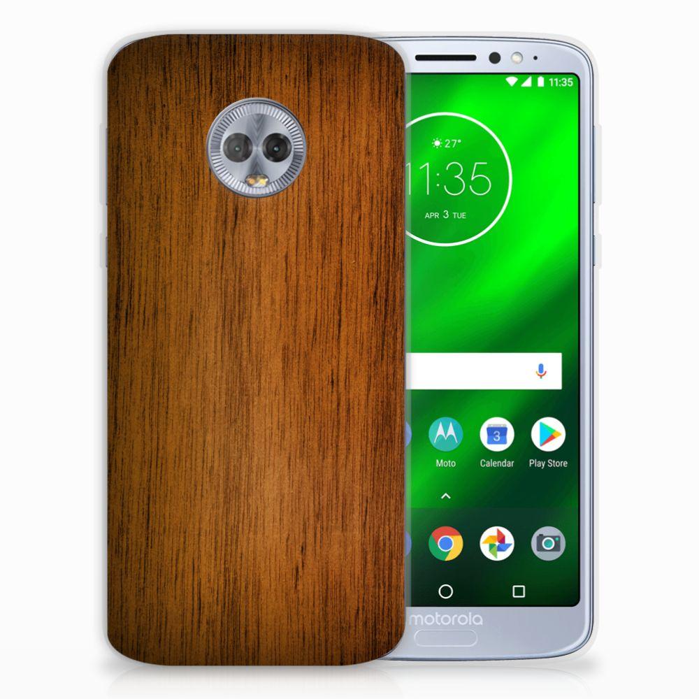 Motorola Moto G6 Plus Bumper Hoesje Donker Hout