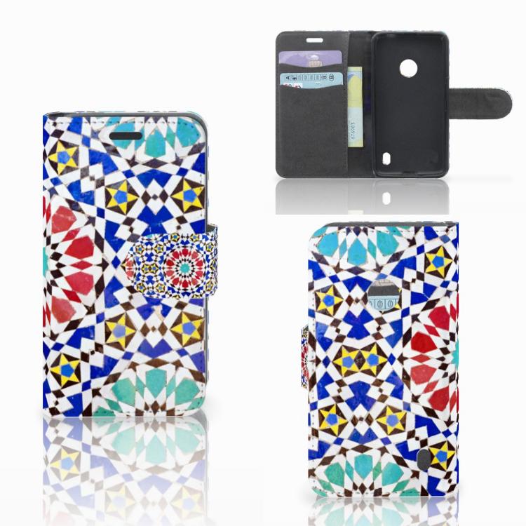 Nokia Lumia 520 Uniek Boekhoesje met Opbergvakjes Mozaïek