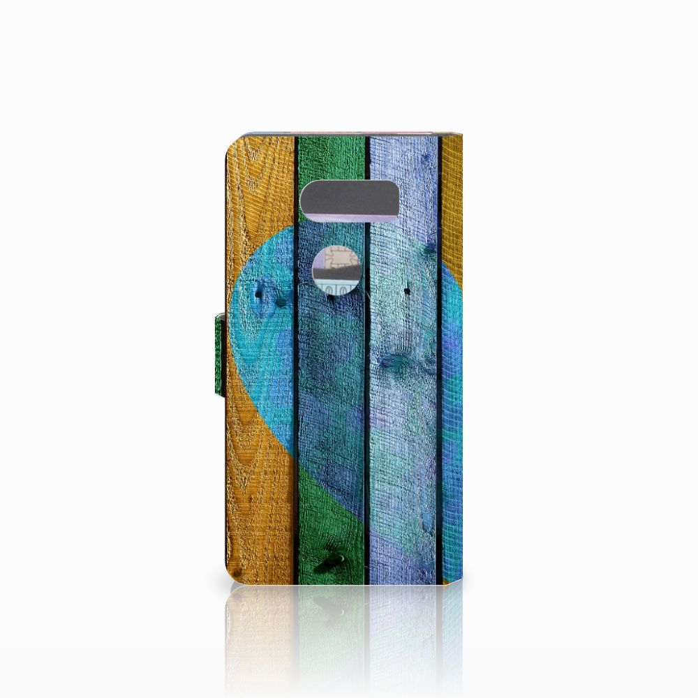 LG V30 Book Style Case Wood Heart