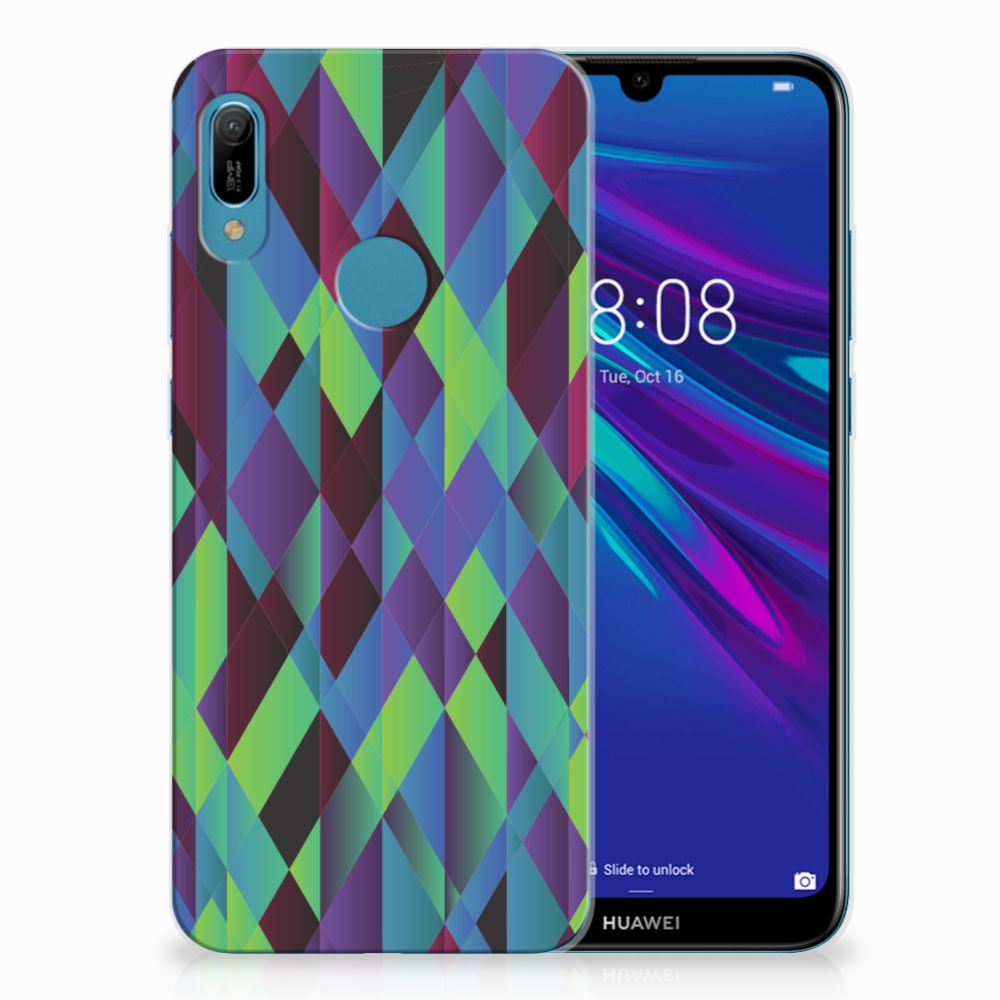 Huawei Y6 2019 | Y6 Pro 2019 TPU Hoesje Abstract Green Blue